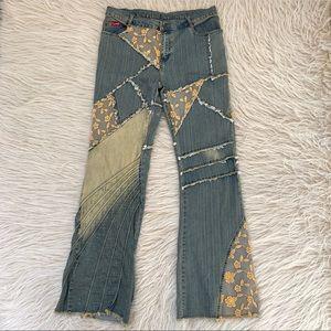 VTG Lemore flare boho jeans patchwork lace bell 34